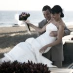 bride and groom by beach playa del ingles