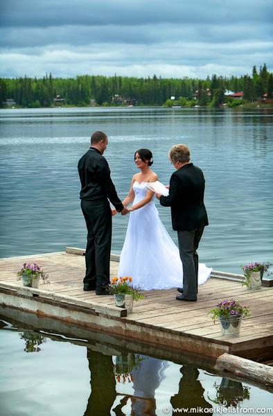 Wedding ceremony on dock at Watch Lake