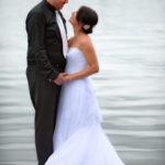 Bride Groom on dock at Watch Lake