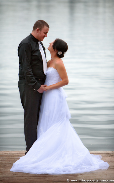 Bride Groom on dock at Watch Lake